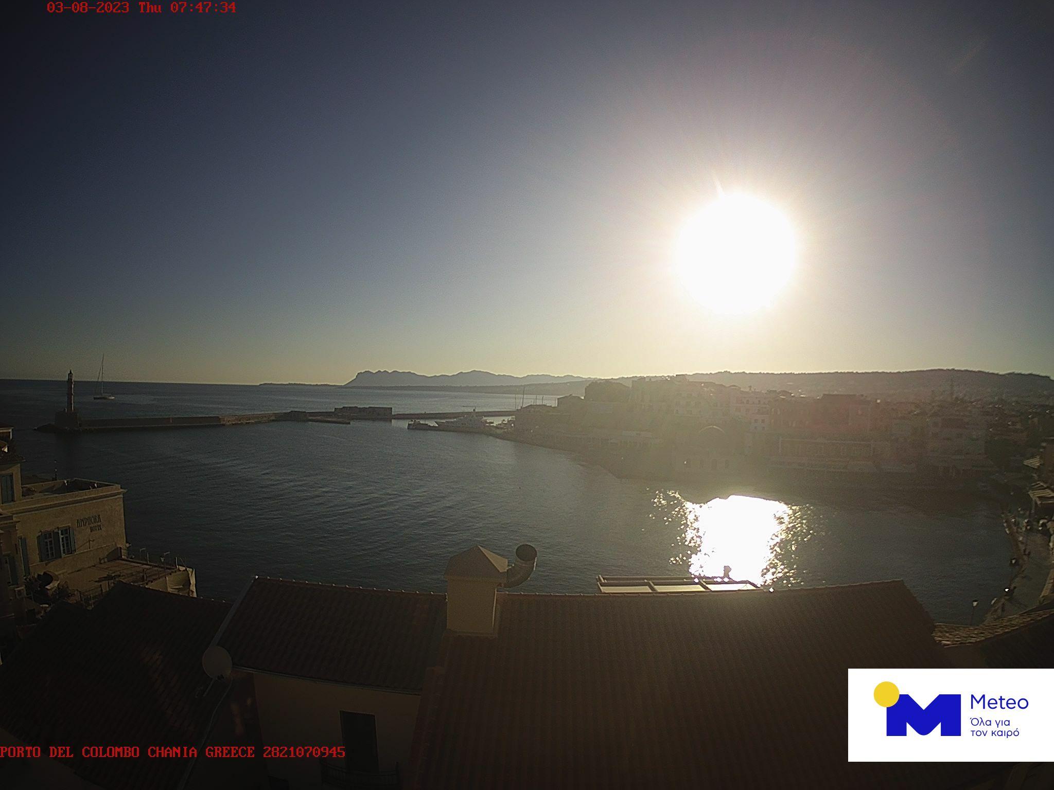 Онлайн веб камера Греции, Крит, Ханья, венецианская гавань